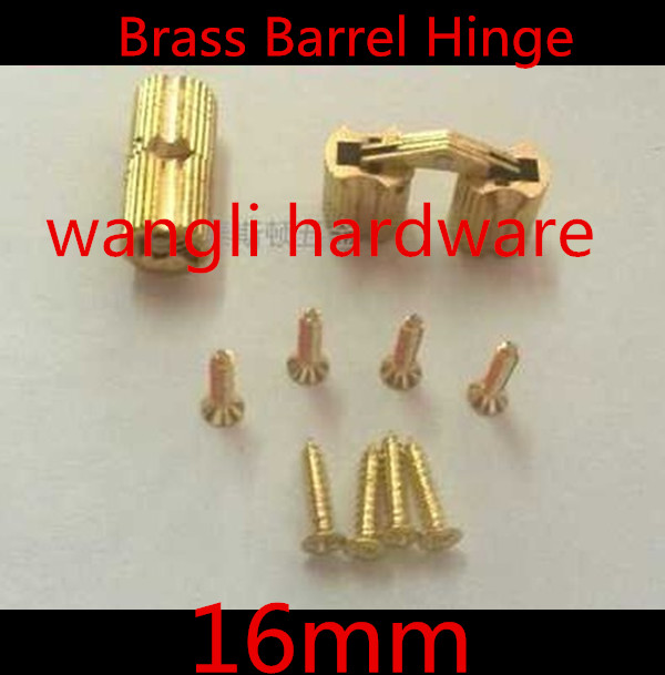 Durable 4pcs 16*33mm 16mm Brass Barrel Hinge Cylindrical Hidden Cabinet Hinges Concealed Invisible Mortise Mount Hinge(China (Mainland))