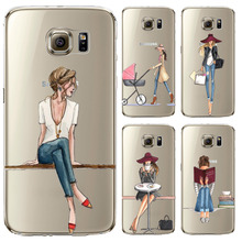 Phone Case for Samsung Galaxy S5 S6 S6Edge S6Edge+ S7 S7edge Cover Soft Silicon Painted Fashion Shopping Girl Mobile Phone Bag(China (Mainland))