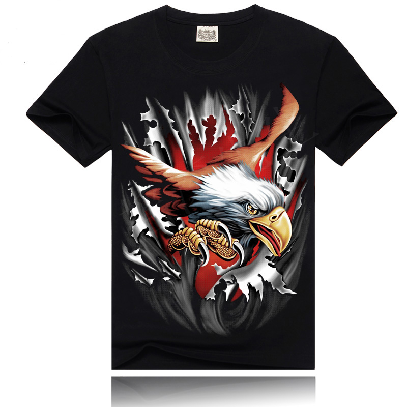 2016 New Fashion Men 3D t-shirt black 100% Cotton Eagle Glede Brand Short Sleeve t shirt Men M To 3XL Size 3d Print t Shirts(China (Mainland))