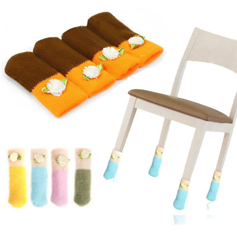 1set/4pcs Useful Cute Lovely Home Furniture Foot Knit Wool Cover Floor Protector Free Shipping(China (Mainland))