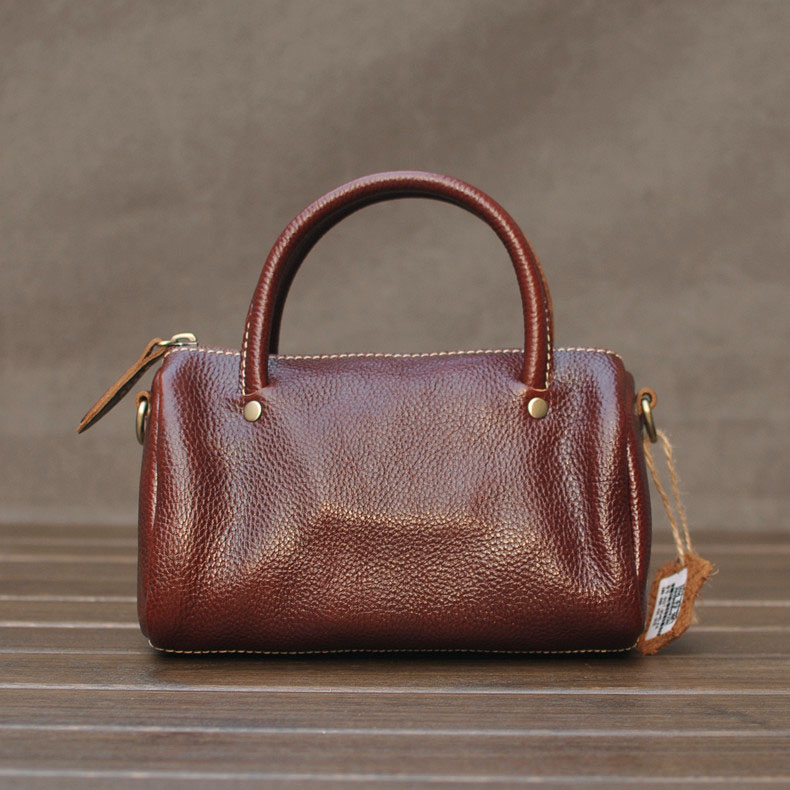 Handmade first layer of cowhide genuine leather women bag 2015 female vintage small bucket shoulder bags black designer handbags(China (Mainland))