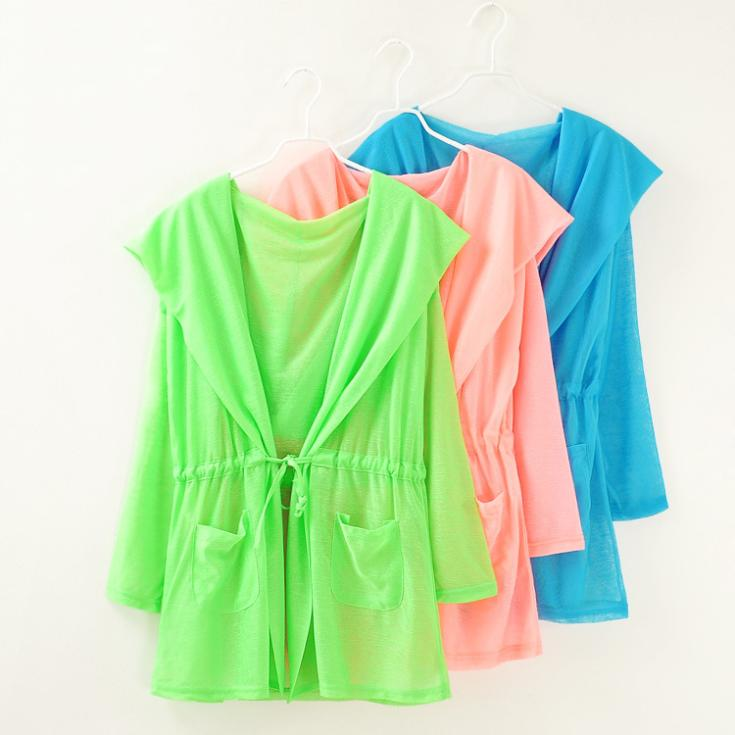 fluorescent color hooded blouse 2014 new summer