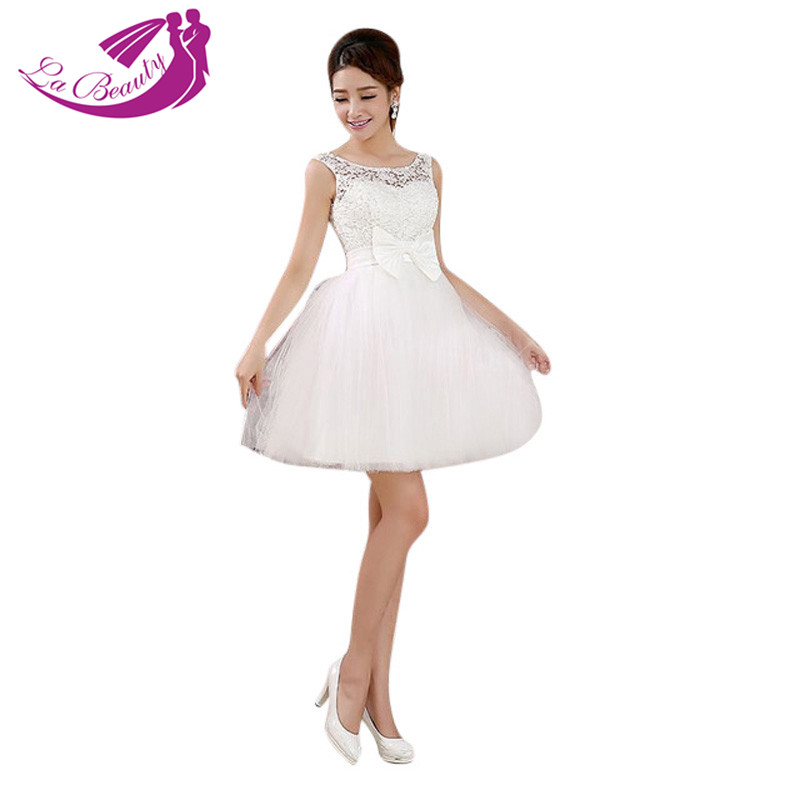 New short design white wedding dress ball gown cute bow for Cute short white wedding dresses