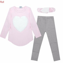 2016 Love Sign Kids Girls Clothing Set ( Headband + Long sleeve Pullover+ Pants ) Children Outerwear Casual Cotton Clothes