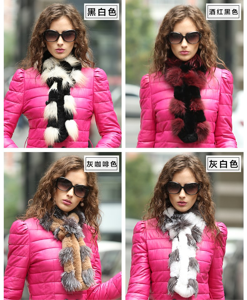 Hot Sales 2016 Winter Real Scarves For Women Handmade Natural Rex Rabbit Scarf With Sliver Fox Fur Wraps Free Shipping