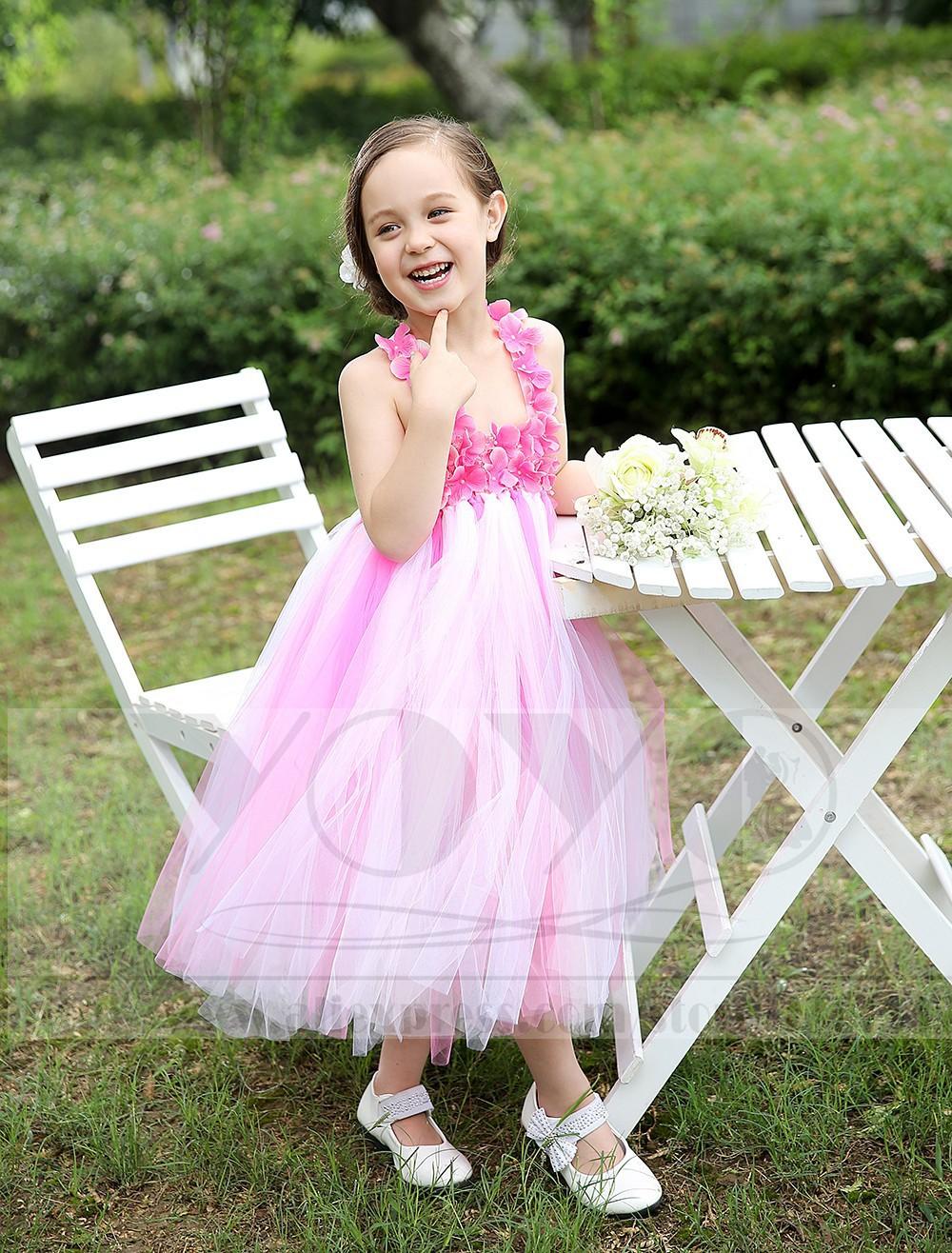 Скидки на Элегантный бальное платье тюль розовый детей платья с цветочными аппликациями маленькие девочки свадебные ну вечеринку платья формальные торжества платья