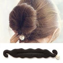 New Fashion DIY Big Simulated Pearl Hair Styling Tools Bun Roller Black Barrette for Headwear Hair Accessories for Women