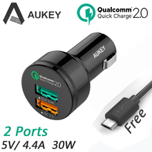 Aukey 2 USB Car Charger 4.4A 30W with QC 2.0 AI Power Adapter Universal Car-Charger with Micro Usb Cable for Tablet PC CDCCCT1B(China (Mainland))