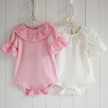 Kids shirts/ baby lace collar short-sleeved bodysuit / romper pink lace long-sleeved shirt