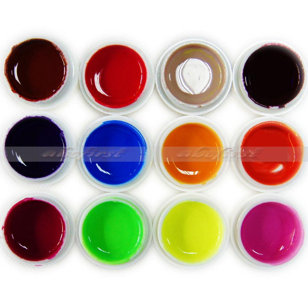 12 pots Nail Varnish Mix Pure Glitter Color UV Builder Gel Nail Art Tips Shiny gel Cover Extension Manicure(China (Mainland))