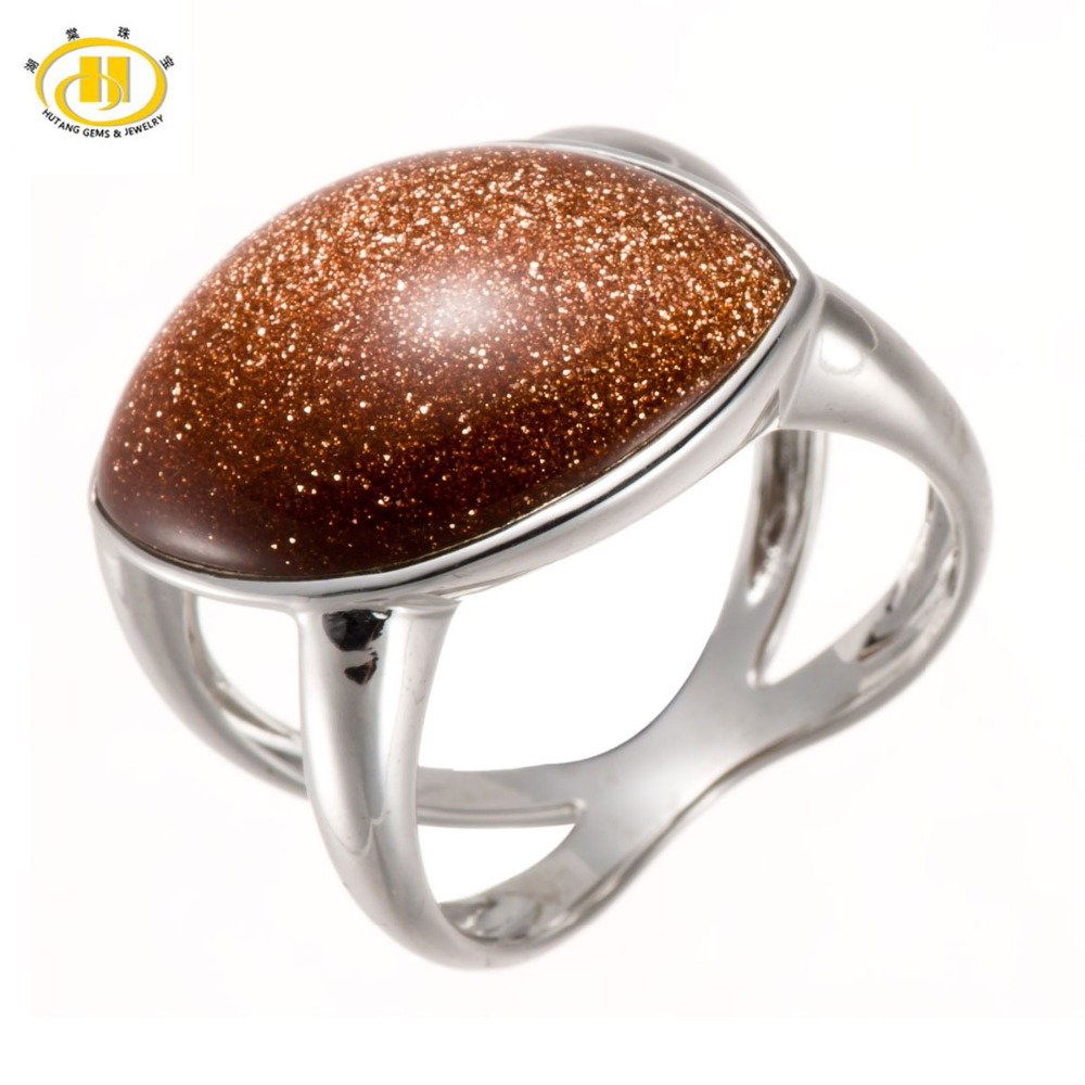Aliexpress Buy Hutang Gold Sand Stone Solid 925 Sterling Silver Rings F