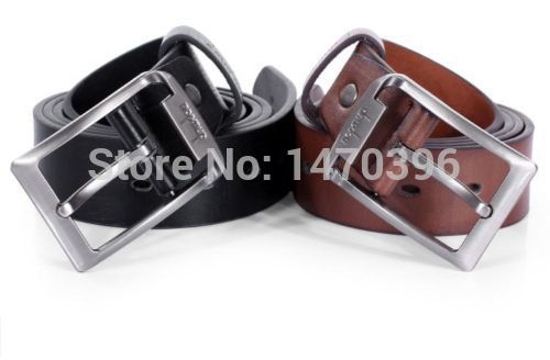 New Men s Waistband Casual Dress Leather Pin Metal Buckle Belt Black Brown Strap