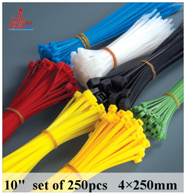 "500PCS 10"" 40lbs 4x250 (10''inch) 500PCS Cable Wire Zip Ties Black Bundle Nylon new material,strong tension,good quality(China (Mainland))"