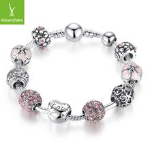 Luxury 925 Silver Heart Love Charm Crystal Beads bracelet for Women Fashion DIY Jewelry Fit Original Pandora Bracelets Gift(China (Mainland))