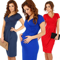 New 2015 summer women dress sexy V-neck bodycon office dress black red vestidos plus size XXXL casual party dresses roupas D006
