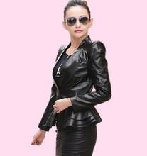 Black women leather clothing medium-long plus size women slim blazer leather jacket leather coat women outerwear(China (Mainland))