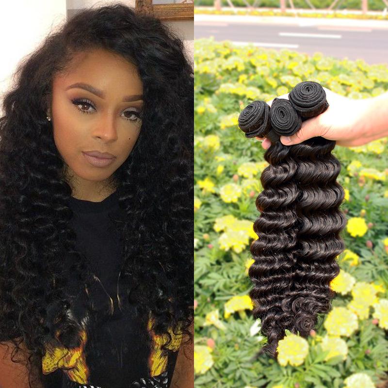 Peruvian Virgin Curly Hair Deep Wave 3pcs/lot 100% Unprocessed Peruvian Deep Wave Grade 6A Peruvian Human Deep Wave