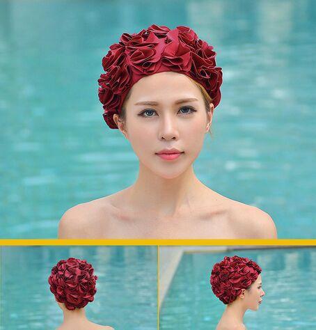 3pcs 2015 new fashion women's flower petal swimming cap spring swim caps printed color(China (Mainland))