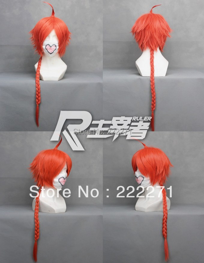 FREE SHIPPING Anime GINTAMA KAMUI CORAL Long Orange Red Costume Cosplay Wig  Heat Resistant  Cap<br><br>Aliexpress