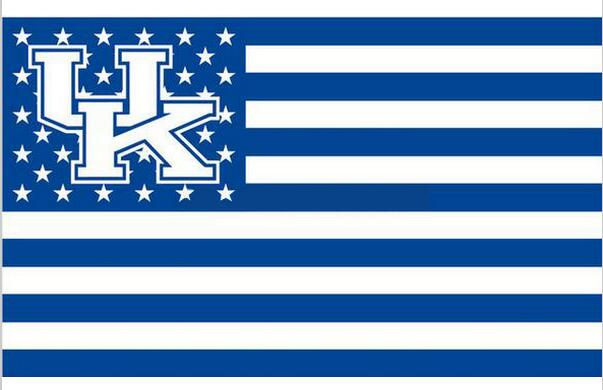 Kentucky Wildcats Stars & Stripes Nation Baseball Flag 3X5FT NCAA banner white sleeve with 2 metal Grommets 90x150cm(China (Mainland))