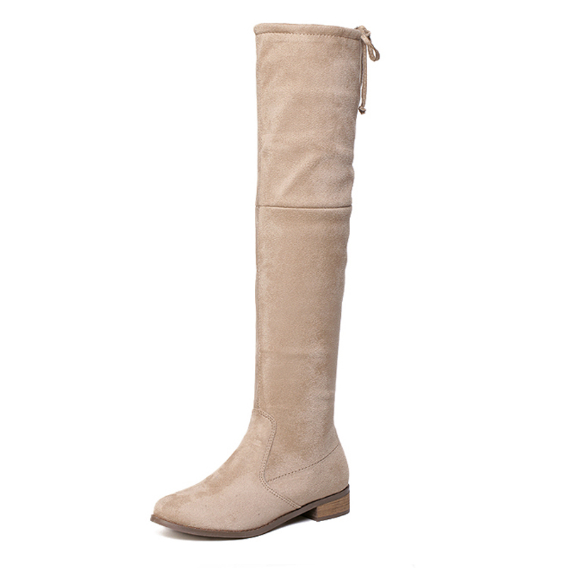 Fashion Women Knee High Boots Winter Warm Boots Black Beige Color Riding Boots Women Winter Boots D75(China (Mainland))