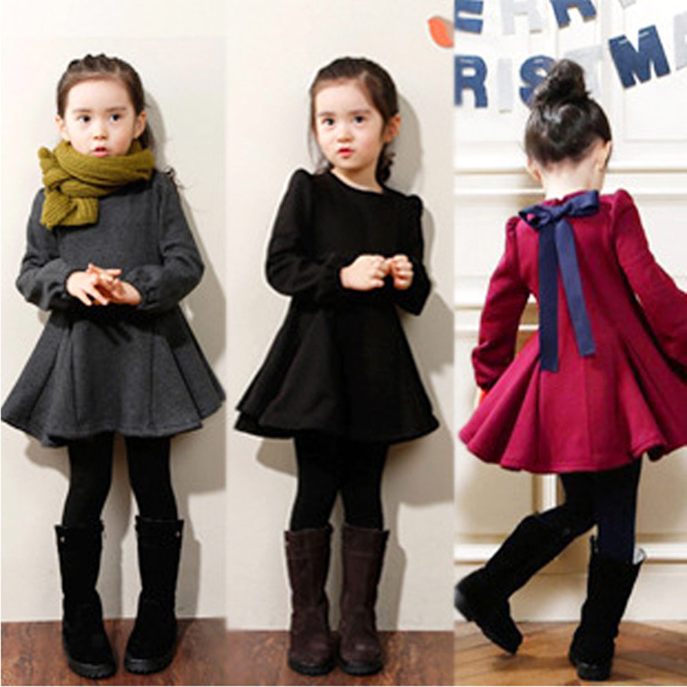girls Clothes little girl dress Round Collar Long Sleeve Solid Color Flounce Thickening Girls Dress summer dress(China (Mainland))