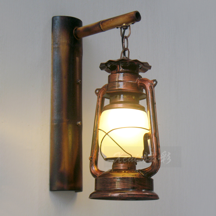 Wall Kerosene Lamps : Chinese Retro Nostalgia Building Process LED Wall Lamp Bamboo Teahouse Creative kerosene Lantern ...