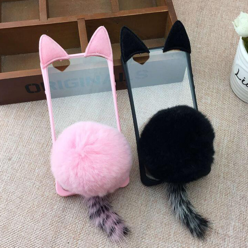 Lovely Charming Bling 3D Fox Rabbit Fur Flip TPU Case cover For Iphone 5 5s6 6s 6plus 7 7plus transparent silicon phone case(China (Mainland))