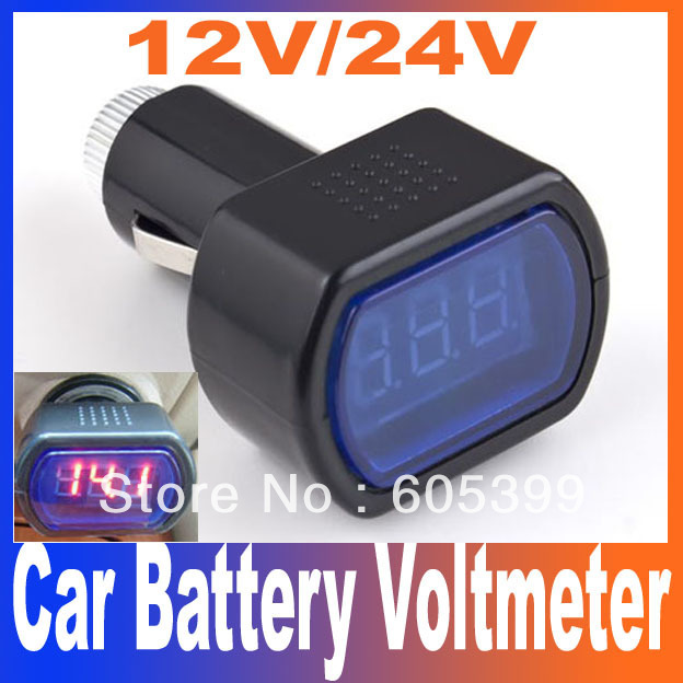 DC 12V / 24V Digital Red LED Auto Car Battery Voltage Voltmeter GAUGE Indicator monitor Meter Tester Free Shipping(China (Mainland))
