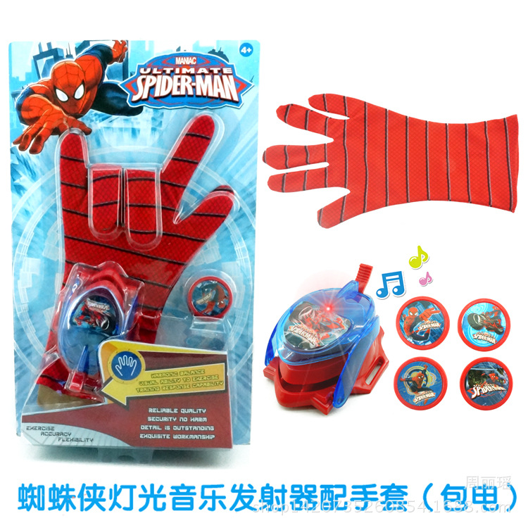 Гаджет  DC Justice League Superhero Spiderman Cosplay Glove with Flashing and Sounding,Kids Toy Spiderman Glove Launcher with 4 Frisbee None Игрушки и Хобби