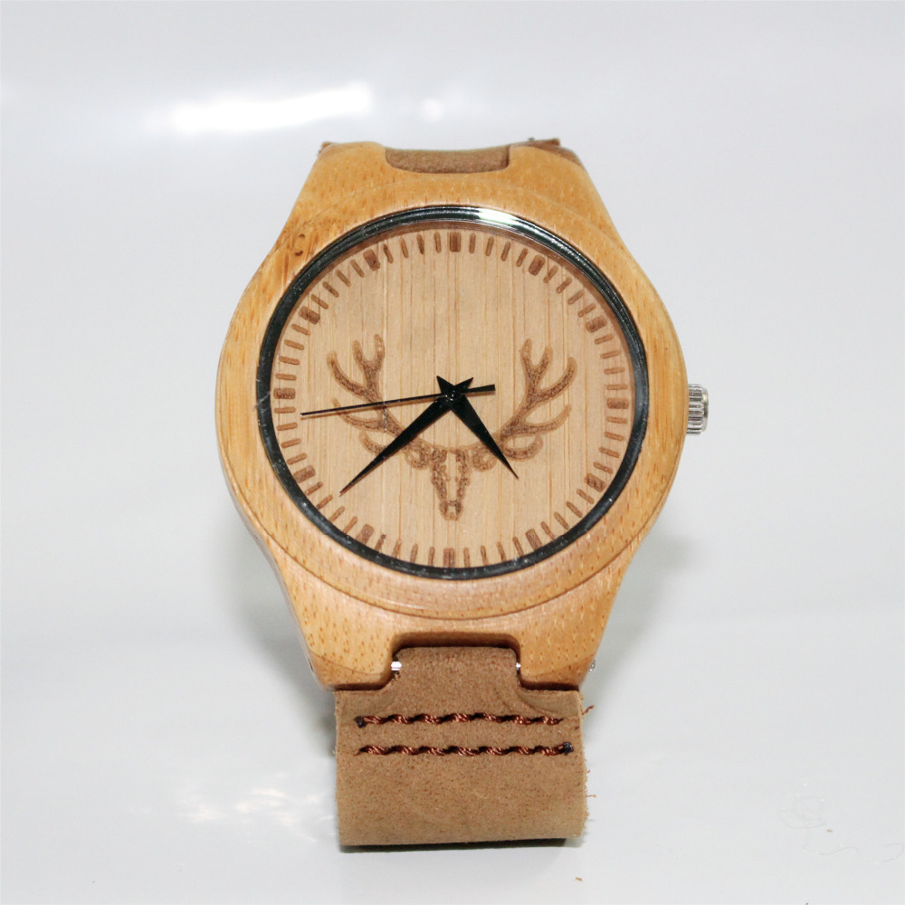 Deer Hunter Design Bamboo Wood Watches Mens Luxury Brand Qaurtz Watch with Leather Band Wooden Bamboo Wristwatches In Gift Box<br><br>Aliexpress