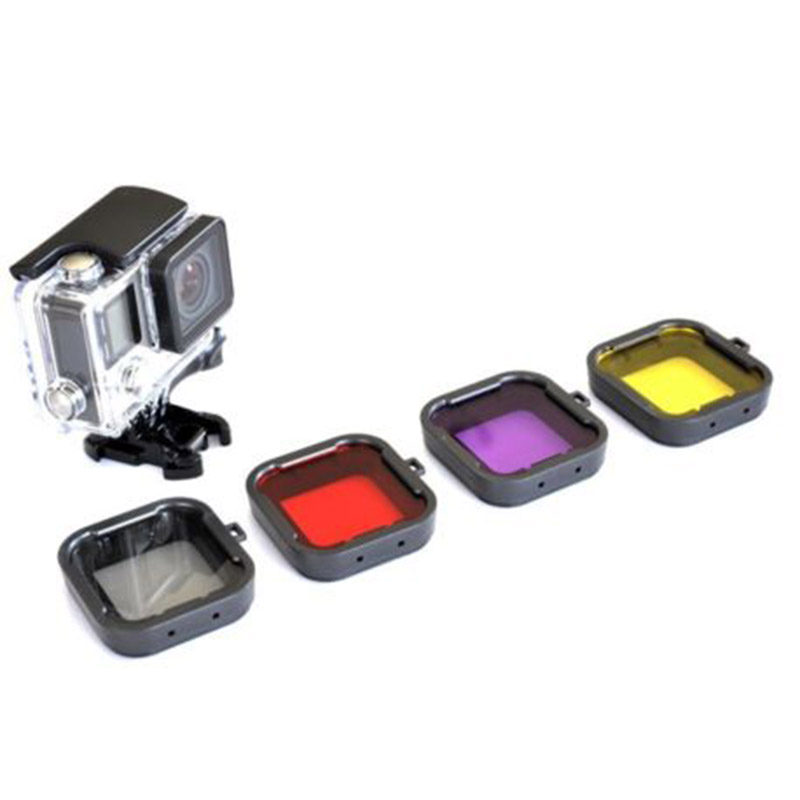 Purple Red Gray Yellow filter 4pcs/lot Lens Filter Diving Filter Gopro HERO 3+ 4 Camera Housing Case Underwater Lens Converter(China (Mainland))