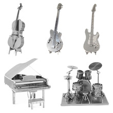 3D Metal Puzzles DIY Model Musical Instrument Band Bass Guitar Violoncello Piano Drum kit Children Jigsaws toys Present Gift