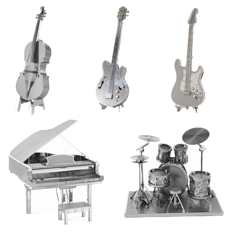 3D Metal Puzzles DIY Model Musical Instrument Band Bass Guitar Violoncello Piano Drum kit Children Jigsaws toys Present Gift(China (Mainland))