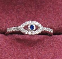 925 стерлингового серебра сглаза кольца Циркон турецкая сглаза ювелирные изделия для женщин и девочек выгравированы 925 размер 4.5-8, бесплатная доставка(China (Mainland))