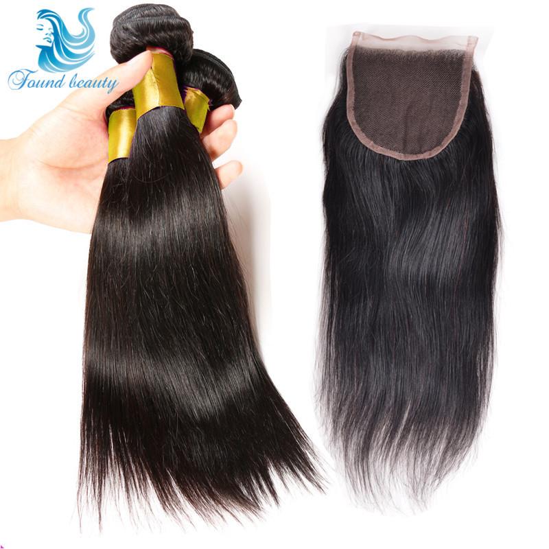 Brazilian Straight Virgin Hair Human Hair Weave Hair 3 Bundles With Lace Closure 7A Mink Brazilian Hair With Closure  Human Hair<br><br>Aliexpress