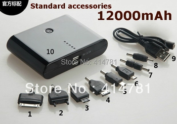 In Stock! shipping DHL/EMS/UPS  12000mAh External Portable Battery Charger Power Bank For Phones With Retail Package