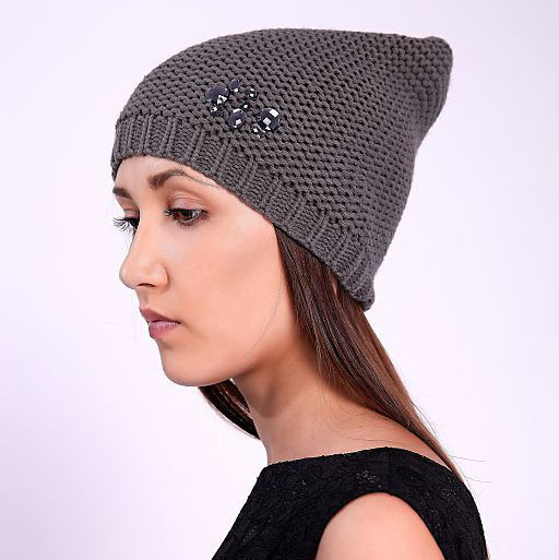 2015 Autumn New Arrival Feminina Skullies Slouchy Beanie Knitted Wool Himbre Winter Gorro Touca Diamond Gray Crochet Hat Women(China (Mainland))