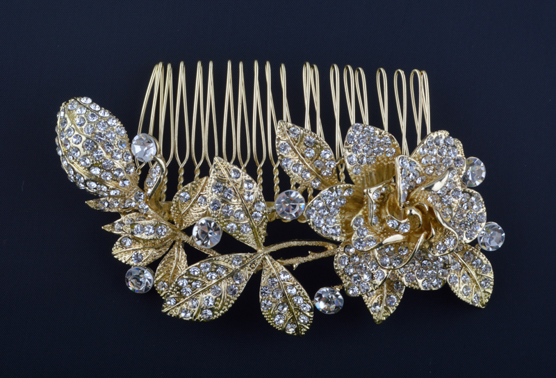 Leaf Flower plants Designs Hair Comb gold plated Bridal Hair pins jewelry For Brides Wedding Tiara women's jewelry accessories(China (Mainland))