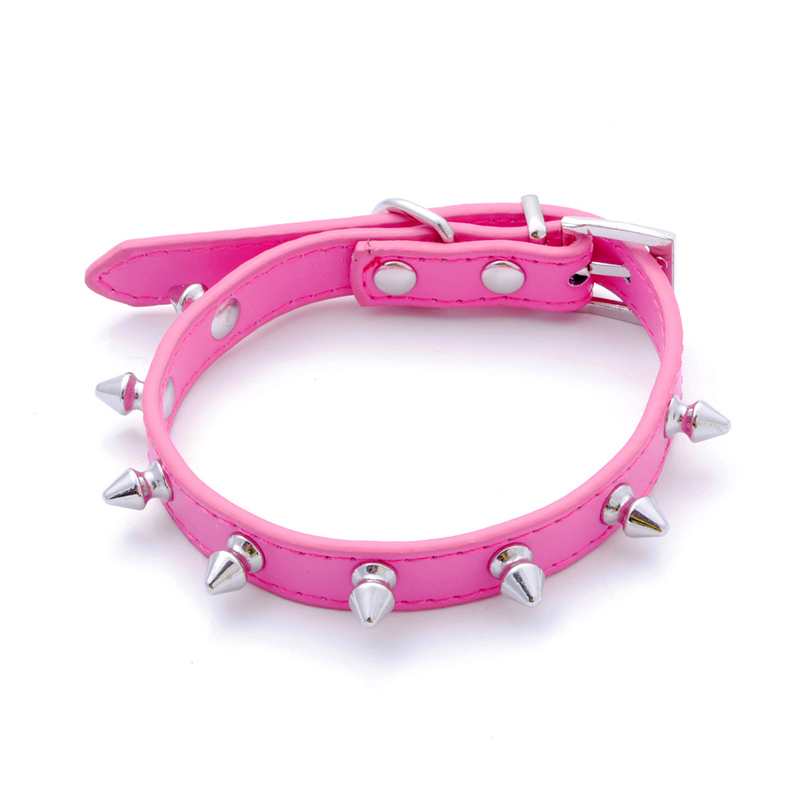 1PC PU Leather Spiked Studded Pet Products Puppy Small Dog Cat Pet Collars Leads Spiked PU Leather Rose Red S M L Mascotas Leash(China (Mainland))