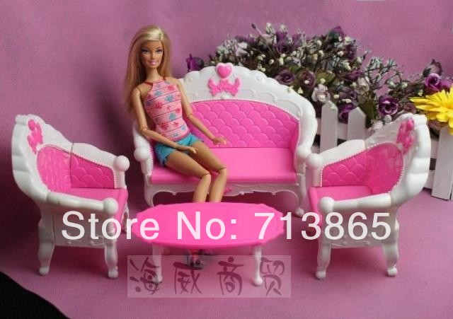 Free Shipping,Girl birthday gift plastic vintage sofa couch desk lamp 6 items/Set accessories for barbie doll,for monster high(China (Mainland))