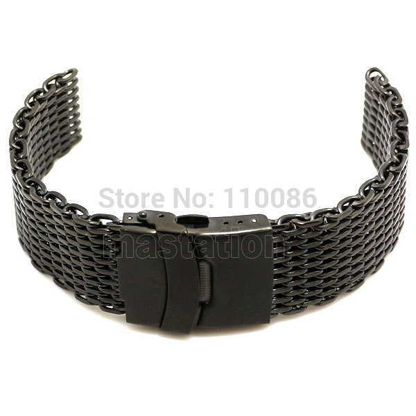 Black 22mm Band Width Mesh Web Wrist Watch Band Strap Bracelet Mens Womens Fold over clasp with safety and push button(China (Mainland))
