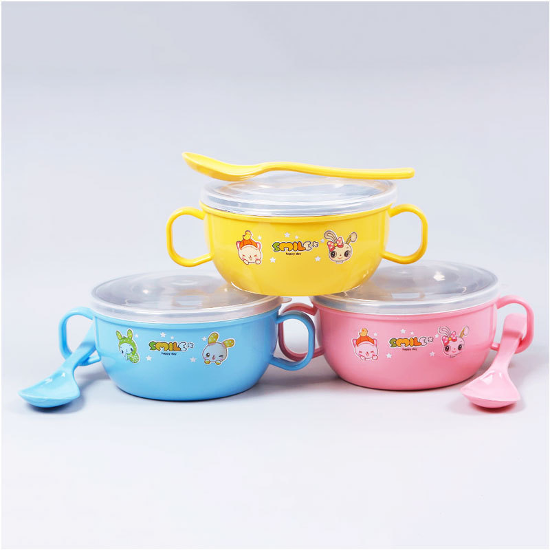 New Practical Stainless Steel Cute Baby Special Cartoon Feeding Bowl With Soup Spoon#60453
