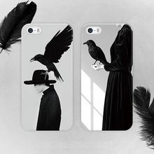 soft case For Apple Iphone 6 6s back cover birds black and white Mobile Phone Bags painted case for iphone 6 TPU Case