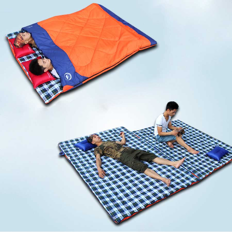 Blue Orange Big family camping equipment outdoor Double sleeping bags for 2 people oversize sleeping bags portable sleeping bag(China (Mainland))