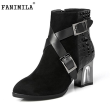 Buy New Design Women Genuine Leather Pointed Toe Ankle Boots Woman Thick Heel Botas buckle Zipper Heeled Shoes Size 31-45 for $58.98 in AliExpress store