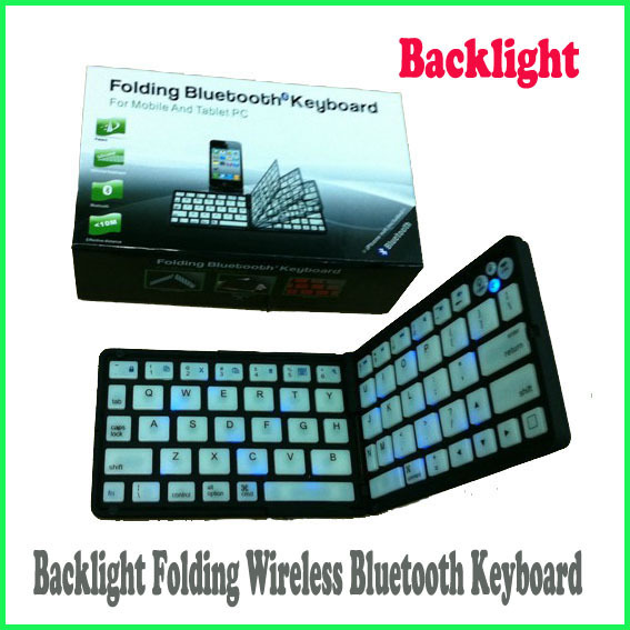 For iPhone 4 4s 5 iPad Android Tablet PC Portable Fold Backlight Wireless Bluetooth Keyboard +For iphone / iPad 2 3 Screen guard