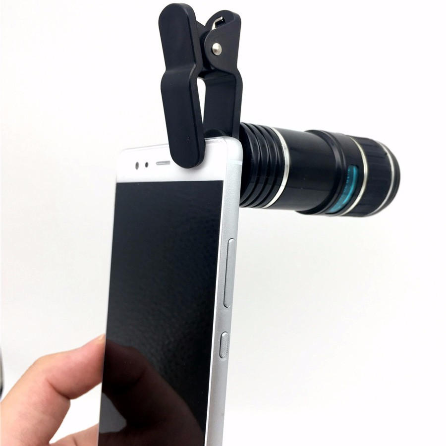 Universal 12X Telephoto Lens Zoom Telescope Mobile Phone Lens Optical Lenses For iPhone 6s 7 Plus Samsung S6 Edge Huawei LG Asus