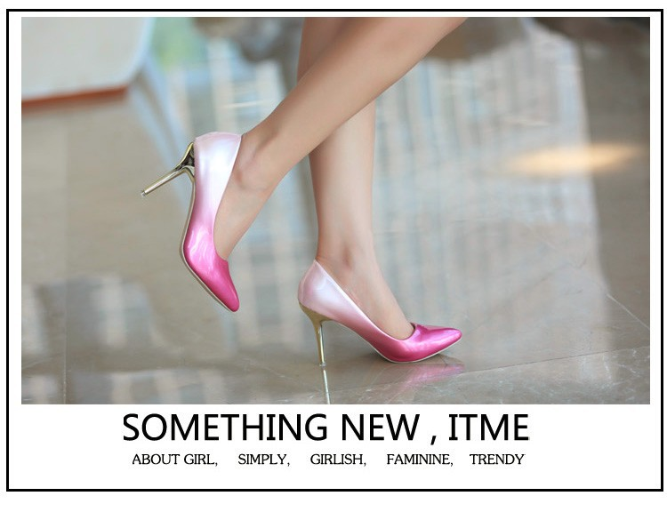 Pointed Toe Pumps Women 2015 Gradient Color Sexy Thin Heel Shoes Large Size 40-43 Female Wedding Shoes Sapatos Femininos