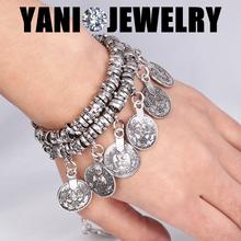 Bohemian Tassels Coin Bracelet Floating Charms Coin Combinations Bracelet Bangle Silver Gypsy Statement Bracelet
